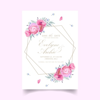 Invitation de mariage avec des fleurs florales de renoncule et de pavot