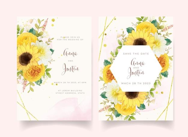 Invitation de mariage avec des fleurs jaunes aquarelles