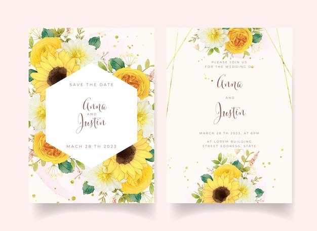 Invitation De Mariage Avec Des Fleurs Jaunes Aquarelles Vecteur Premium