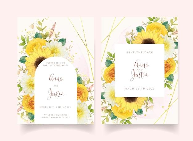 Invitation De Mariage Avec Des Fleurs Jaunes Aquarelles Vecteur gratuit
