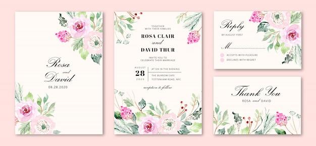 Invitation de mariage avec des fleurs roses douces