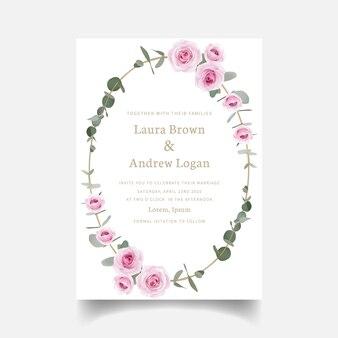 Invitation de mariage fleurs roses et feuille d'eucalyptus