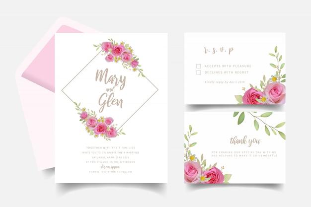 Invitation de mariage avec des fleurs roses roses florales
