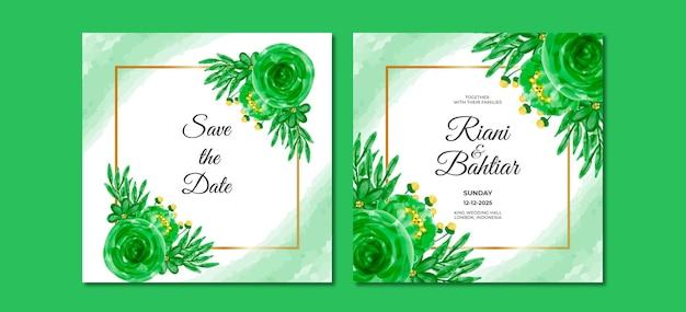 Invitation de mariage avec des fleurs vertes aquarelles