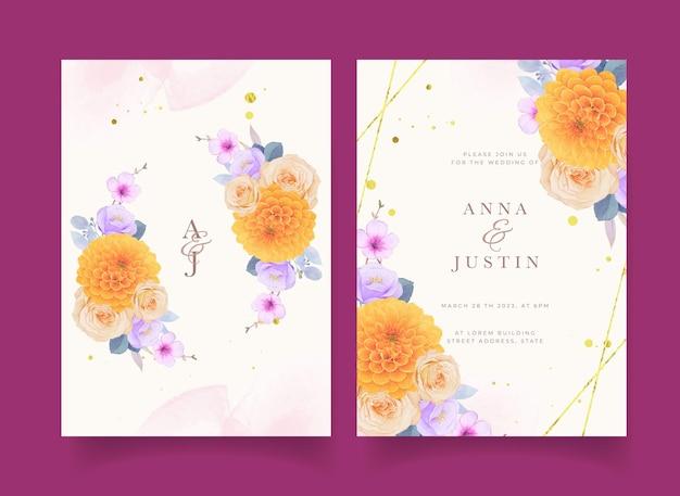 Invitation de mariage avec des fleurs violettes et jaunes aquarelles