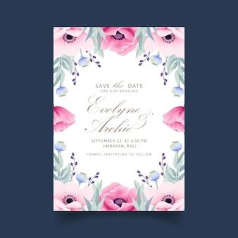 Invitation de mariage floral avec anemone et fleurs de pavot