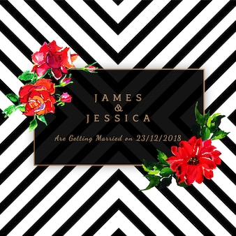 Invitation de mariage floral aquarelle avec motif de rayures
