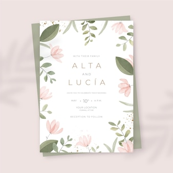 Invitation de mariage floral aquarelle peinte à la main
