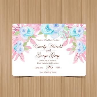 Invitation de mariage floral à l'aquarelle avec des roses pastel