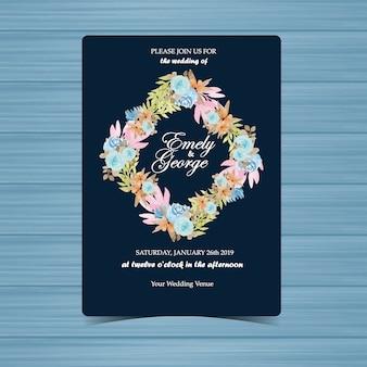 Invitation de mariage floral avec beau cadre de fleur