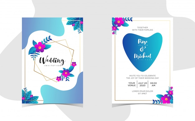 Invitation de mariage floral avec beau dégradé