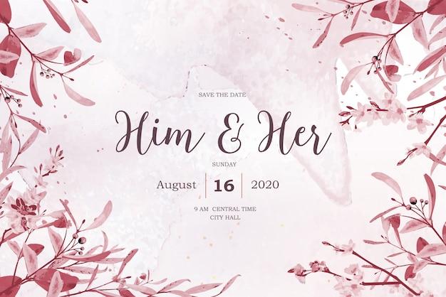 Invitation de mariage floral belle aquarelle vintage