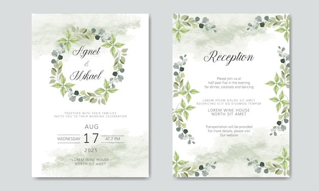Invitation de mariage floral belle et élégante