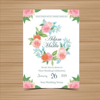 Invitation de mariage floral avec belle fleur