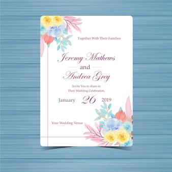 Invitation de mariage floral avec de belles fleurs