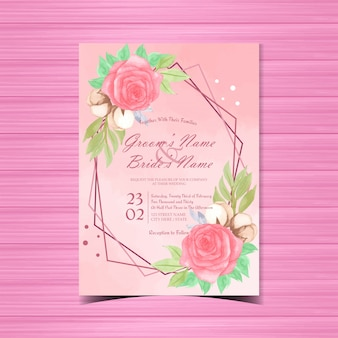 Invitation de mariage floral avec de belles roses rouges aquarelles