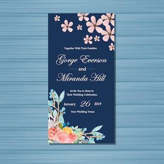 Invitation de mariage floral bleu marine avec de belles fleurs