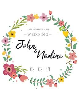 Invitation mariage floral carte voeux fond vecteur coloré conception modèle médias sociaux