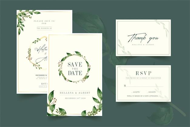 Invitation de mariage floral de couleur verte