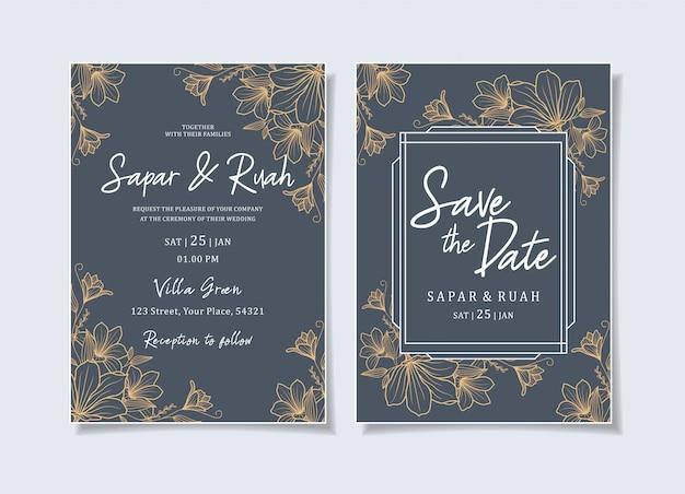 Invitation de mariage floral croquis luxe élégant