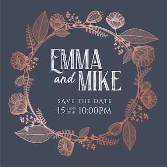 Invitation de mariage floral en cuivre