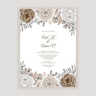 Invitation De Mariage Floral Avec Décoration Florale Caramel Marron Vecteur Premium