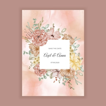 Invitation de mariage floral avec décoration florale caramel marron