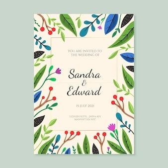 Invitation de mariage floral dessiné à la main de gravure