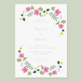 Invitation de mariage floral dessiné à la main