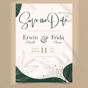 Invitation de mariage floral dessiné à la main