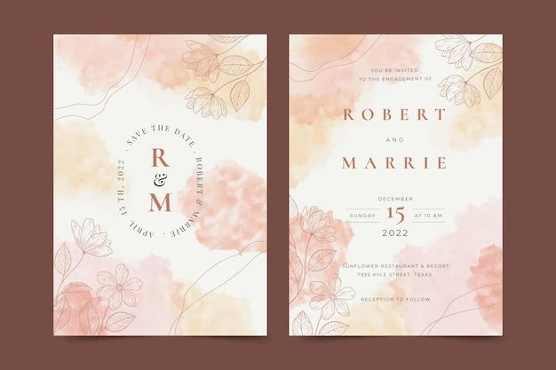 Invitation De Mariage Floral Dessiné à La Main Vecteur Premium
