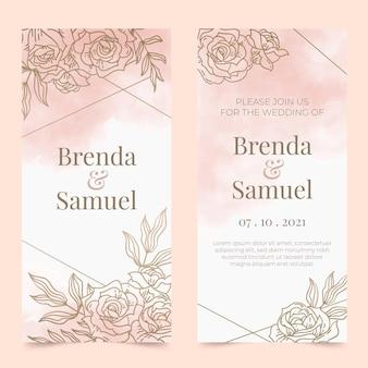 Invitation de mariage floral doré dégradé