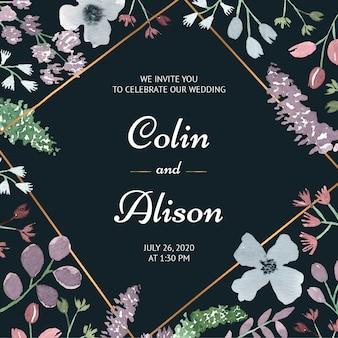 Invitation de mariage floral élégant à l'aquarelle