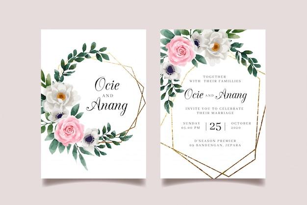 Invitation de mariage floral élégant avec une feuille d'or géométrique