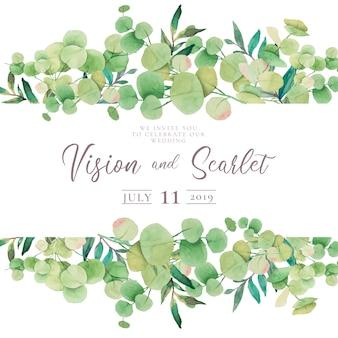 Invitation de mariage floral avec des feuilles d'eucalyptus