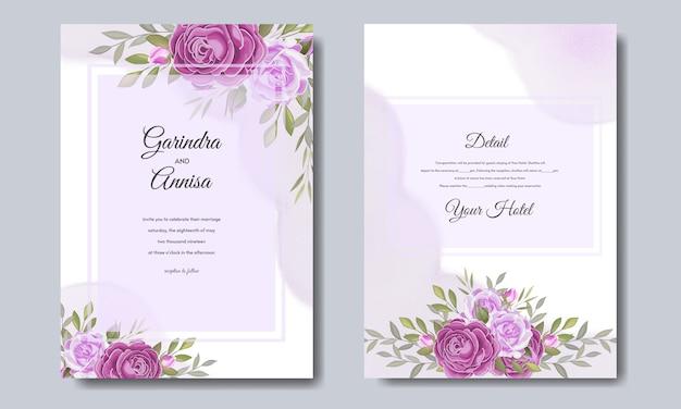 Invitation de mariage floral et feuilles modèle de carte premium