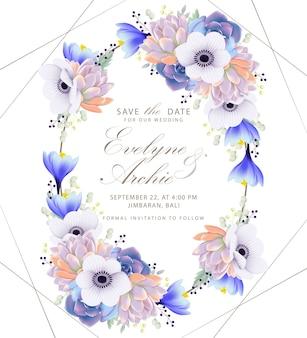 Invitation de mariage floral avec fleur d'anemone et succulente