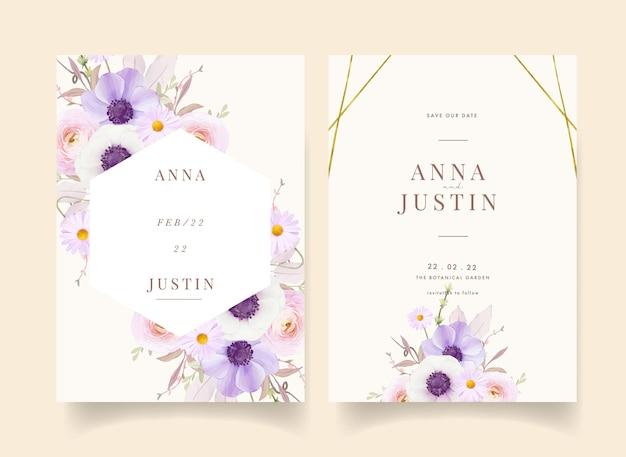Invitation de mariage floral avec fleur d'anémones aquarelle
