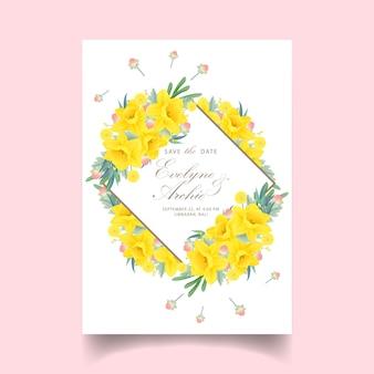 Invitation de mariage floral avec fleur de jonquilles
