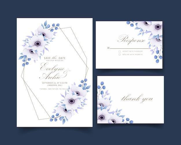 Invitation de mariage floral avec des fleurs d'anemone