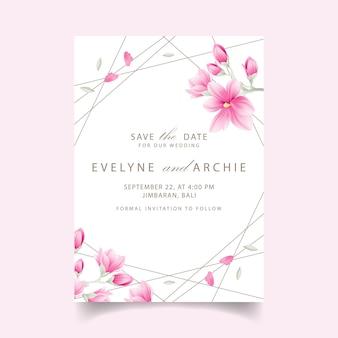 Invitation de mariage floral avec des fleurs de magnolia