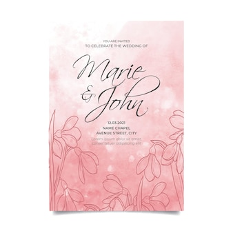 Invitation de mariage floral avec fond aquarelle