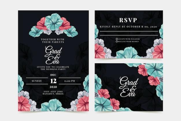 Invitation de mariage floral sur fond noir