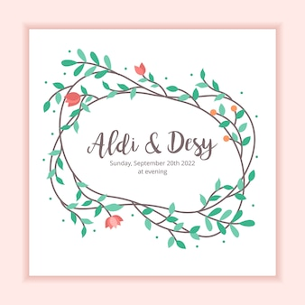 Invitation de mariage floral frame decoration background