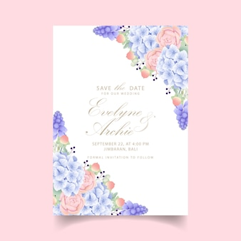Invitation de mariage floral avec hortensia