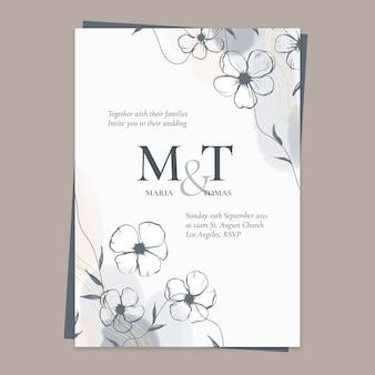 Invitation de mariage floral peinte à la main
