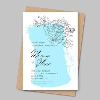 Invitation de mariage floral avec de la peinture