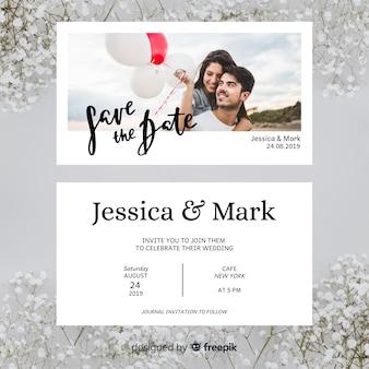 Invitation de mariage floral avec photo