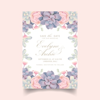 Invitation de mariage floral avec des plantes succulentes
