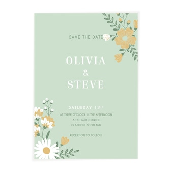 Invitation de mariage floral plat